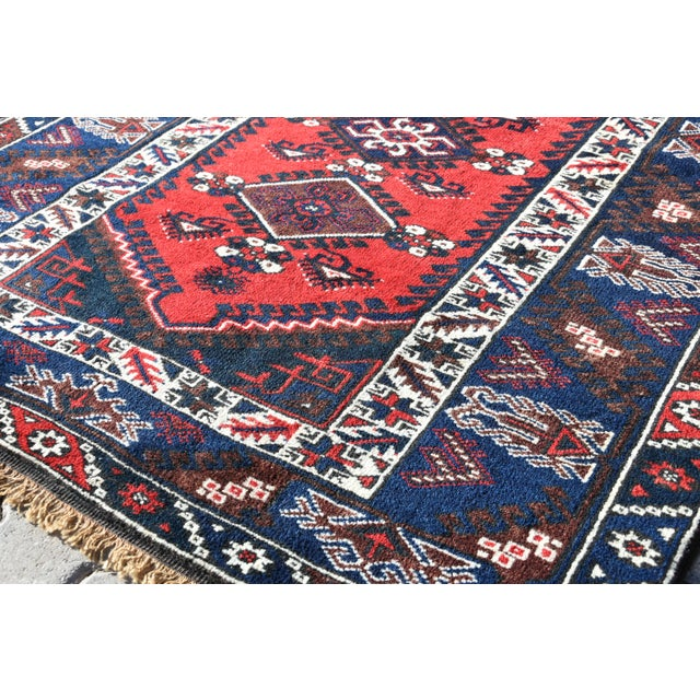 Textile 1980s Turkish Oushak Aztec Anatolian Tribal Hand Knotted Wool Carpet For Sale - Image 7 of 12