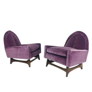 Pair of Purple Velvet Lounge Chairs in the Style of Adrian Pearsall For Sale