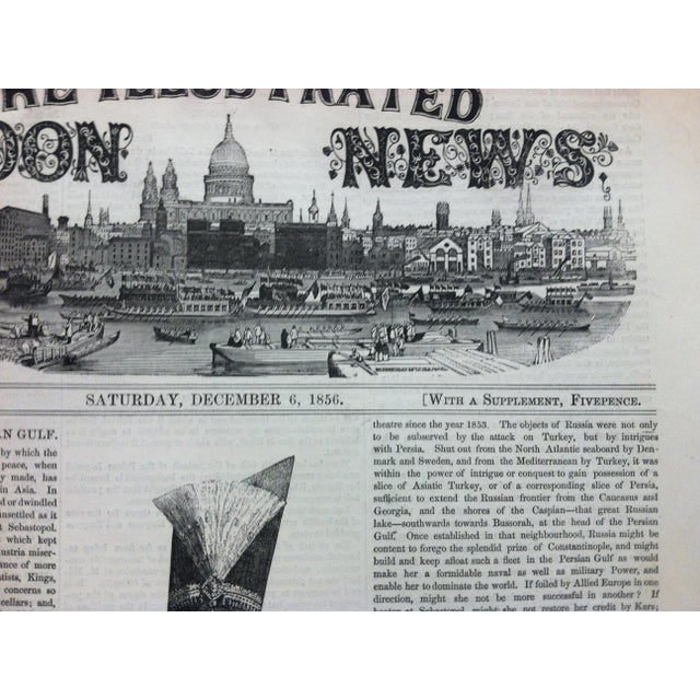 """Mid 19th Century 1856 Antique Illustrated London News """"Bushire on the Persian Gulf"""" Print For Sale - Image 5 of 6"""