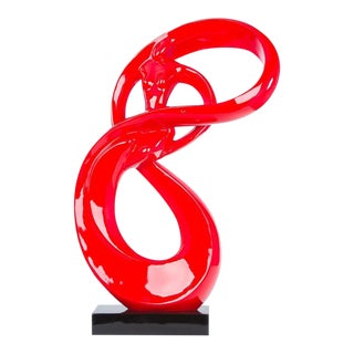 """Lady Roll Resin Sculpture Statue, Red 32"""" For Sale"""