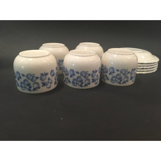 Vintage Eit Ltd. Ironstone Demitasse Cups & Matching Saucers With Blue Fruit Pattern - Set of Five - Image 7 of 8