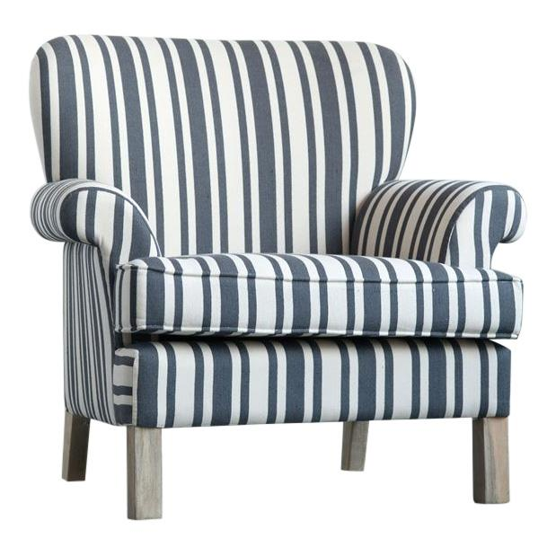 Striped Fabric Classic Armchair For Sale In Greensboro - Image 6 of 6