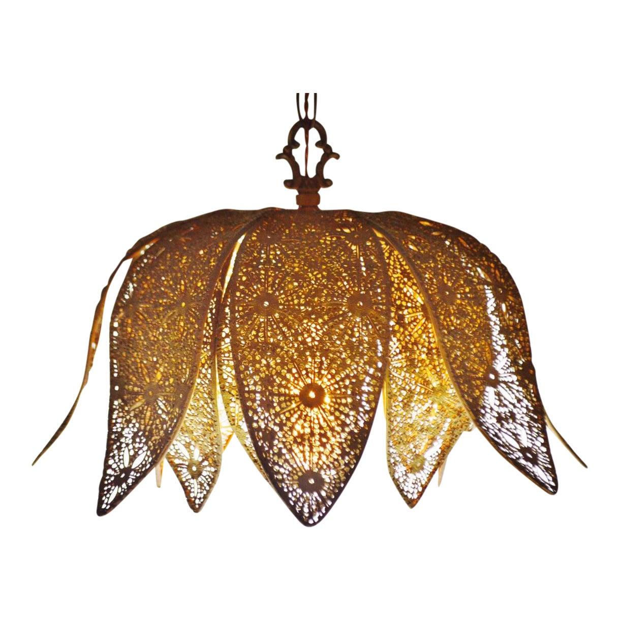 Vintage Moroccan Reticulated Metal Lotus Flower Pendant Light Chairish
