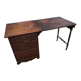 Early 20th Century Country Oak Sewing Table/Desk