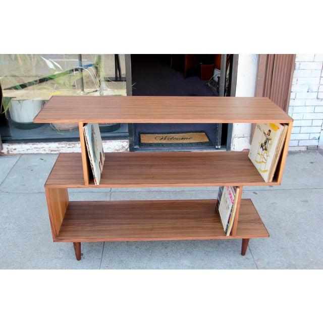 Mid-Century Modern Brown Walnut Deep Zig-Zag Bookcase For Sale - Image 10 of 11