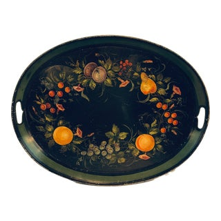 Antique English Oval Black Fruit Hand Painted Green Band Tole Tray For Sale