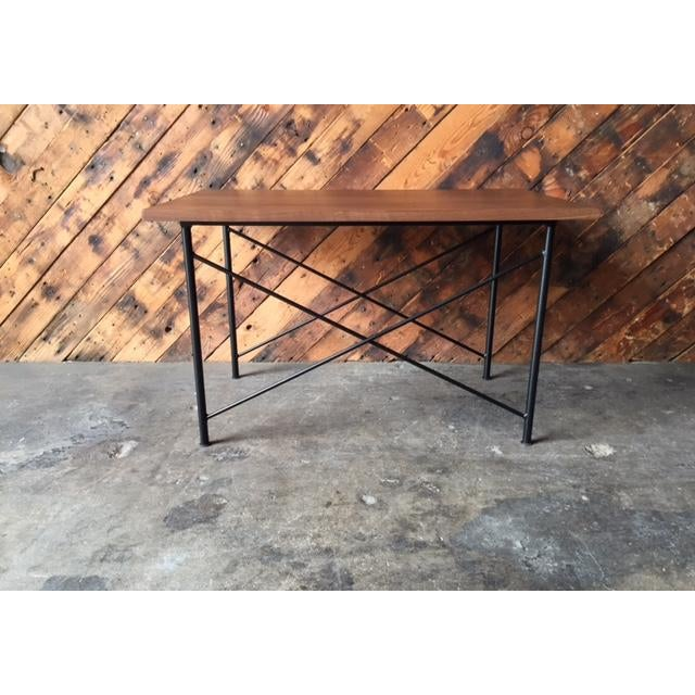 Custom Mid Century Style Walnut Wrought Iron Side Coffee Table For Sale - Image 5 of 6