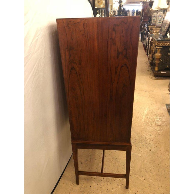 Rosewood Two-Door Over Three-Drawer Mid-Century Modern Brazilian Rosewood Cabinet Chest For Sale - Image 7 of 13