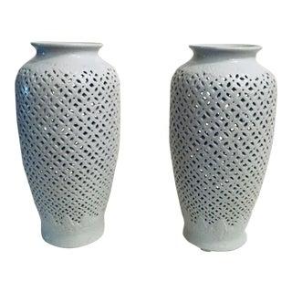 1950's Vintage Blanc De Chine Vase - Pair