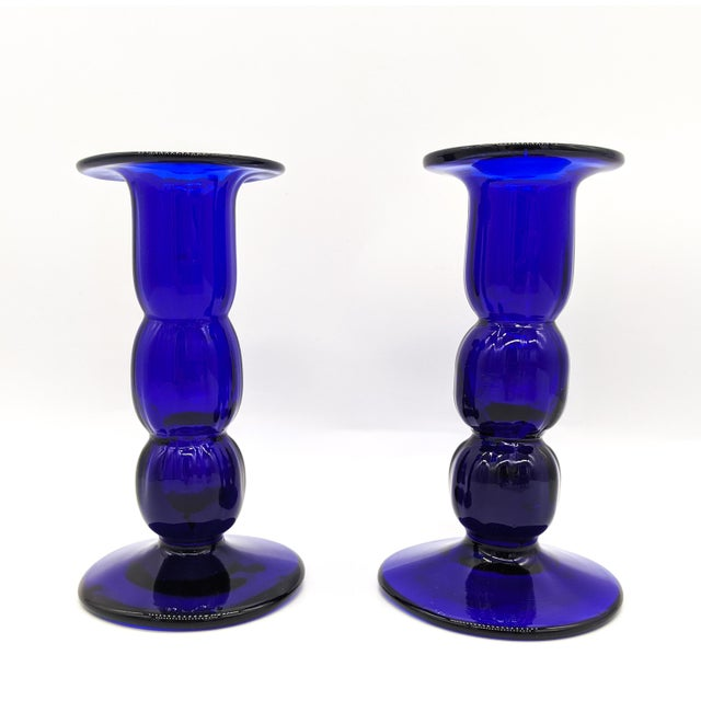 Mid-Century Modern Cobalt Blue Glass Candlesticks - a Pair For Sale In Houston - Image 6 of 6
