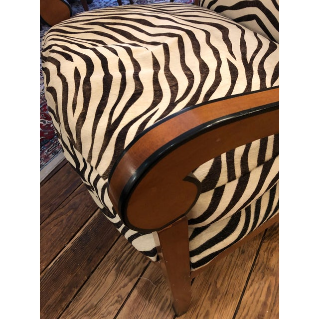 1980s Vintage Printed Zebra Cowhide Upholstery Chair For Sale - Image 4 of 9