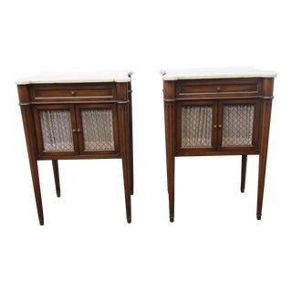 French Marble Top Pair of Tall Nightstands Side End Tables For Sale