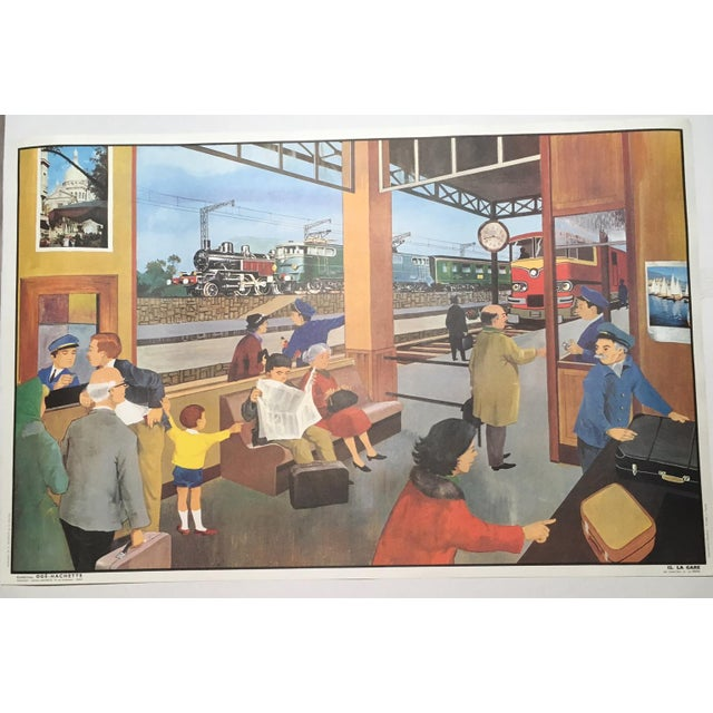"""French Vintage French School Two-Sided Poster - """"La Ferme/La Gare"""" For Sale - Image 3 of 3"""