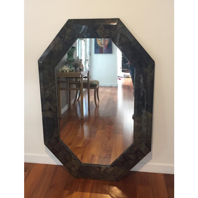 "Late 20th Century 54"" X 36"" Coconut Shell Mosaic Mirror For Sale - Image 5 of 5"