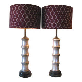 Faux Bamboo Silver Ceramic Lamps - A Pair For Sale