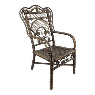 1940s Vintage Victorian Style Wicker Child's Chair For Sale