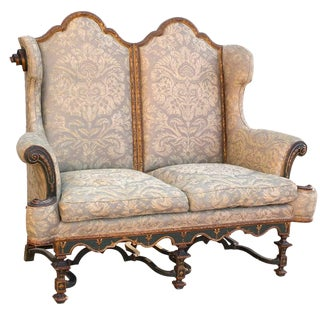 19th Century Polychromed Fantastical Fortuny Gothic Settee For Sale