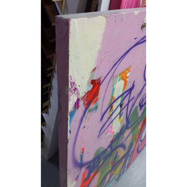 Mixed media (oil and acrylic) on canvas. Lavender and reds, purple Artist living and working in Orlando Florida University...