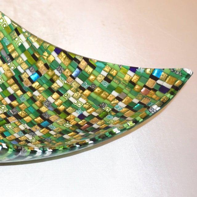 2010s Modern Italian Jewel-Like Green Yellow & 24Kt Gold Murano Art Glass Mosaic Bowl For Sale - Image 5 of 11