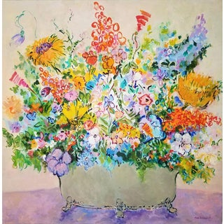 Eva Hannah Spring Flowers Oil on Canvas Painting For Sale