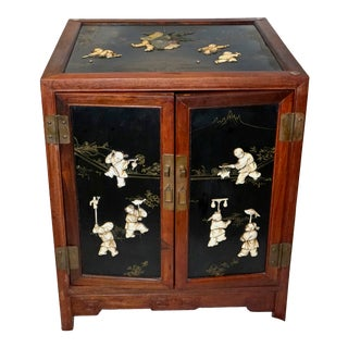 Vintage Black Lacquer Rosewood Cabinet For Sale