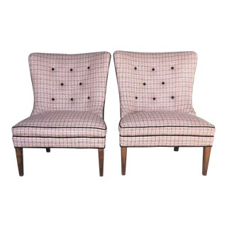 Hollywood Regency Blush Pink Tweed and Velvet Slipper Chairs - a Pair