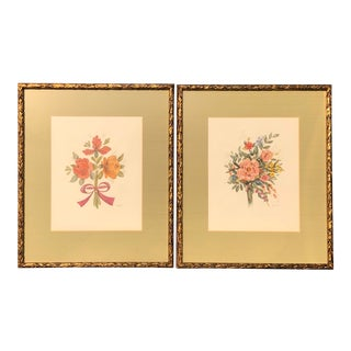 Late 20th Century Floral Watercolor Paintings, Framed - a Pair For Sale