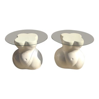 1970s Mid-Century Modern Monumental White Lacquer Female Torso Tables - a Pair For Sale