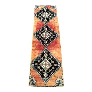 Vintage Geometric Design Traditional Turkish Orange and Blue Runner For Sale