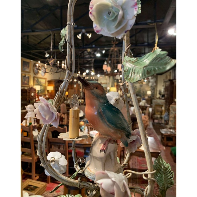 French French Painted Chandelier With Porcelain Bird and Flowers For Sale - Image 3 of 10