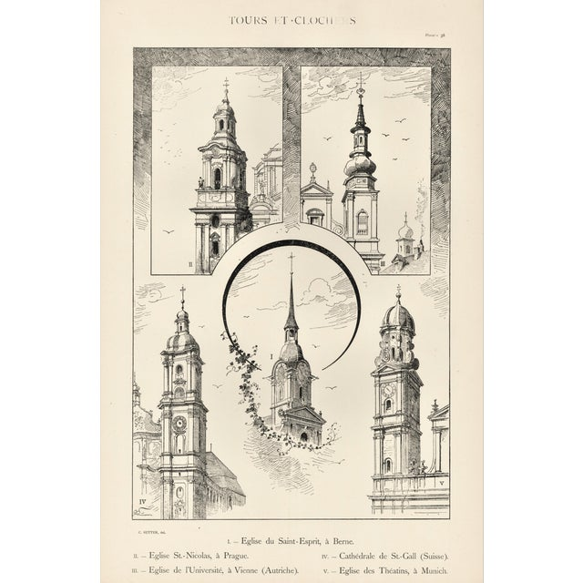 Late 19th Century Large C1880s French Architecture Lithograph of Towers & Clock Towers For Sale - Image 5 of 5