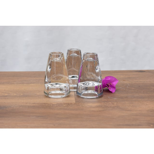1970s Mid Century Modern Glass Tapered Candle Holders - Set of 3 For Sale - Image 4 of 5
