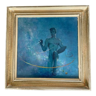 1960s Figurative Male Cosmic Style Painting by Alexander Canedo, Framed For Sale