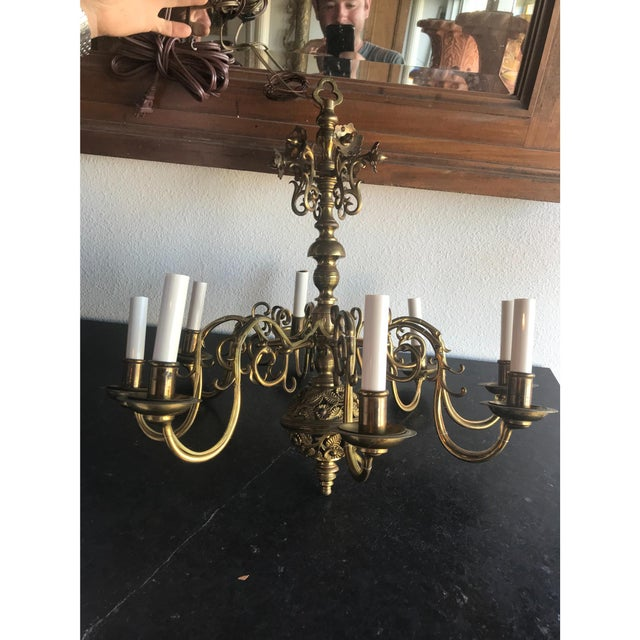 19th C. Bronze Chandelier For Sale - Image 5 of 6