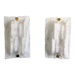 White Murano Glass Sconces by Toni Zuccheri for Venini - a PAir For Sale