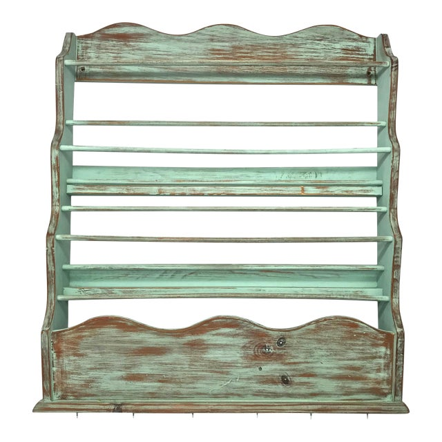 Shabby Chic-Style Wall Plate Rack For Sale