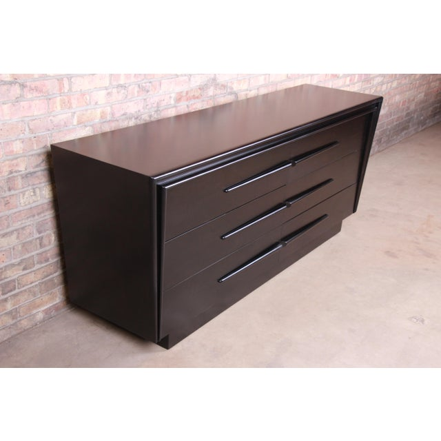 1950s Edmond Spence Swedish Modern Ebonized Birch Dresser or Credenza, Newly Refinished For Sale - Image 5 of 13