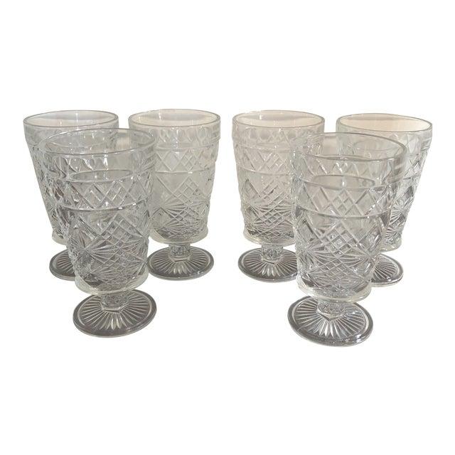 Set of 6 - Vintage Cut Glass Water Goblets For Sale