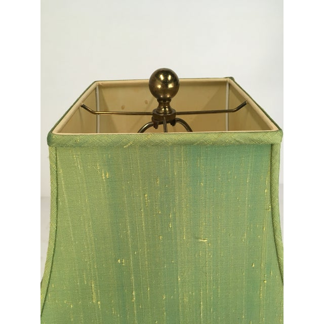 Late 20th Century Brass Paul Hanson Elephant Lamp With Green Pagoda Style Shade For Sale - Image 5 of 9