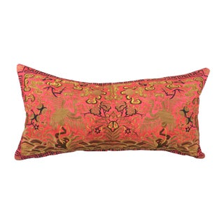 Red Silk Embroidered Crane Boudoir Pillow For Sale