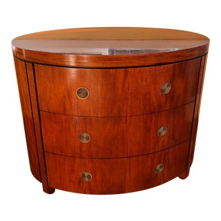 Charles Pfister for Baker Mahogany Three-Drawer Oval Commode For Sale