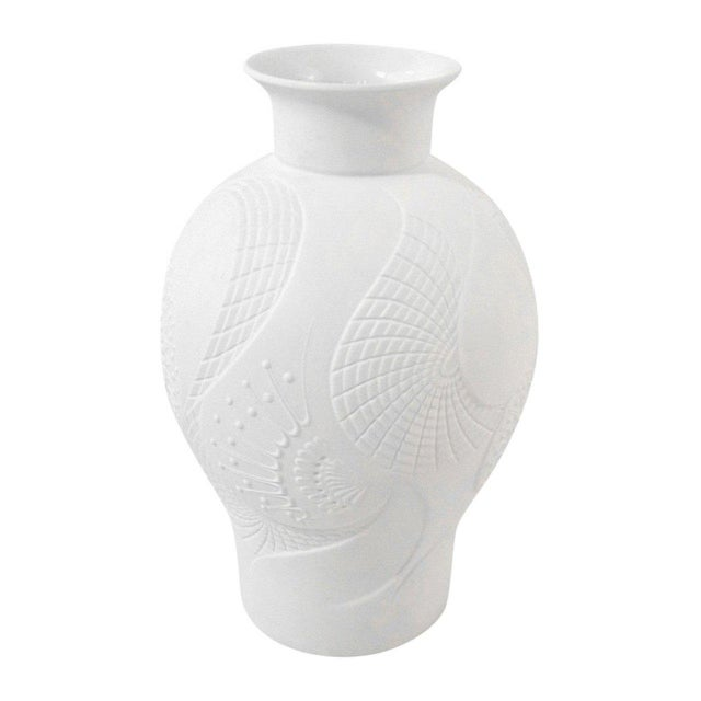 Distinguished Art Deco White Bisque Vase With Stylized Floral Design