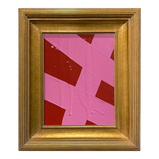 Ron Giusti Mini Abstract Red Pink Acrylic Painting, Framed For Sale