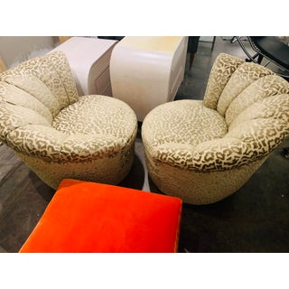 Vintage Hollywood Regency Nautilus Swivel Chairs in Leopard - a Pair Preview