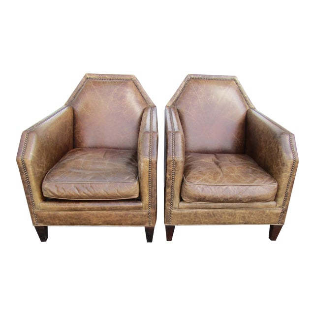 1980s Vintage Italian Leather Accent Chairs - A Pair For Sale