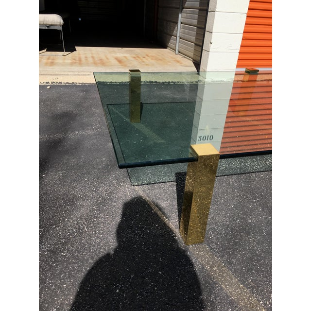 1970s 1970s Vintage Pace Collection Style Brass and Floating Glass Coffee Table For Sale - Image 5 of 6