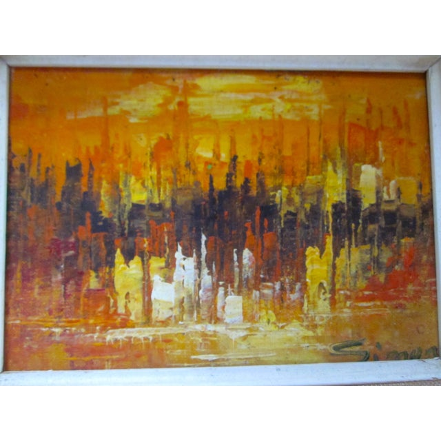 Mid Century Abstract Cityscape Painting - Image 2 of 10