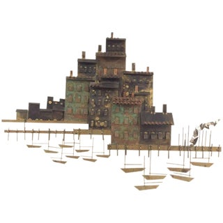Signed Curtis Jere Brutalist Wall Sculpture Village, Marina and Sailboats, 1970s