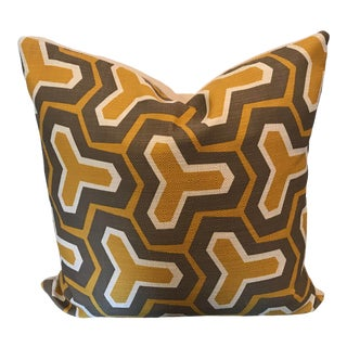 Custom Woven Abstract Pillow With Solid Woven Reverse Side For Sale