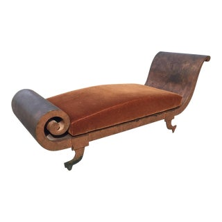 Greek Revival Scrolled Metal Chaise with Copper Gilt